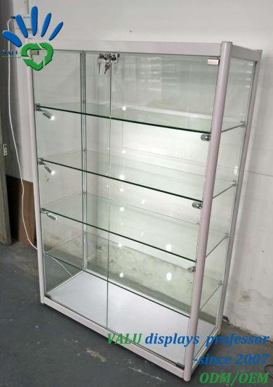 china aluminium free standing glass showcase glass display cabinet