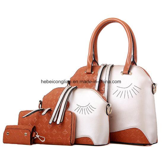 Crossbody 4 Piece Set Women Leather Handbag Golden Wallet Shoulder Bag. Get  Latest Price fd680942da26a