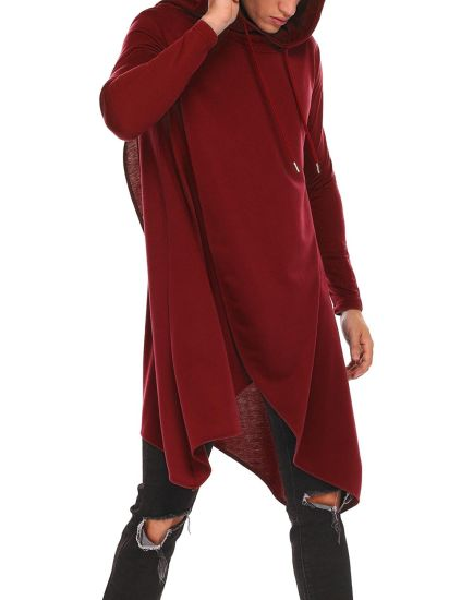 Mens Casual Hooded Poncho Cape Cloak Irregular Hem Hoodie Pullover
