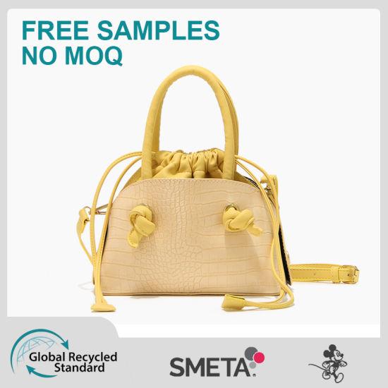 Small Square Bag with Crocodile-Pattern Character Drawing Rope Handbag