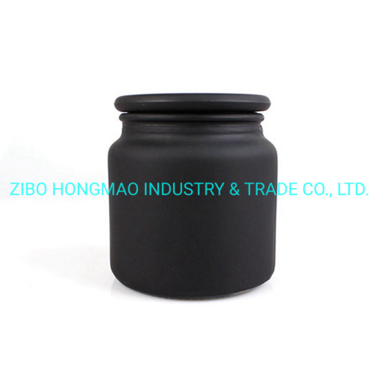 High Quality Frost Matte Black Glass Candle Jar Candle Holders Candle Container with Lid 500ml