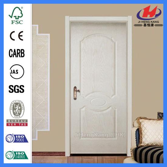 China Solid 6 Panel Doors Wooden Finished White Interior Door Jhk