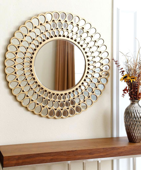 China Round Golden Water Flower Shape, Decorative Mirrors For Living Room