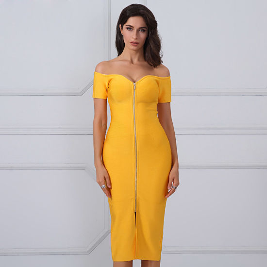 d0d953754ea Yellow Strapless Short Sleeves Summer Dress Celebration Party Bandage Dress