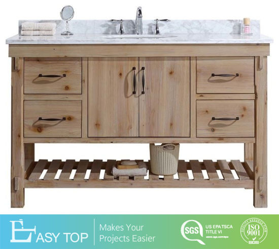 OEM and ODM Good Quality Modern Timber Wood Bathroom Vanity, Driftwood Finish