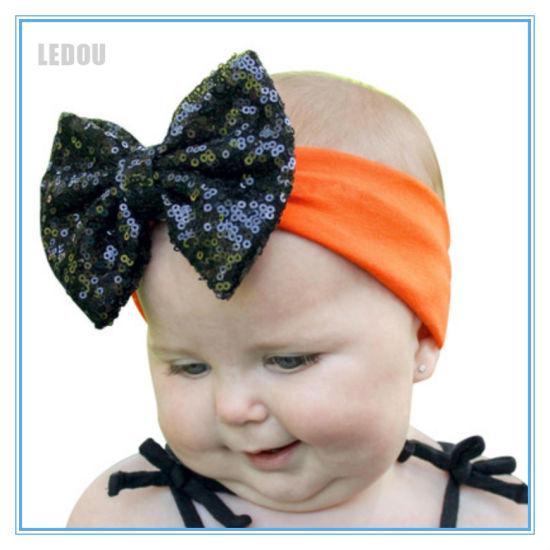 Newborn Headband Leather Baby Bow Orange Baby Bow Baby Headband Fall Headband Halloween Baby Bow Orange Baby Headband Fall Baby Bow