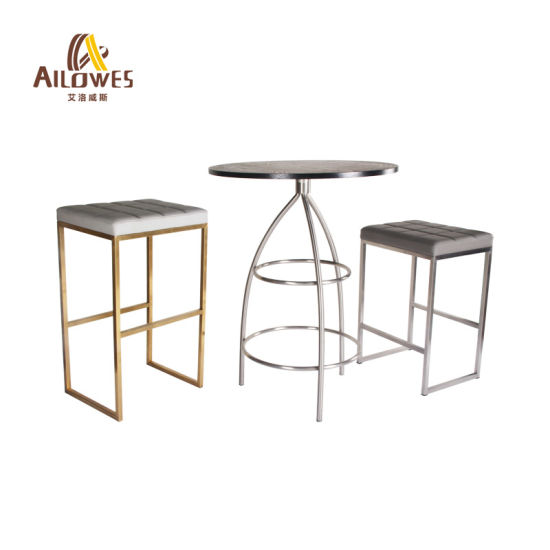 Metal Bar Furniture PU Seat Gold Stainless Steel Footrest Bar High Stool