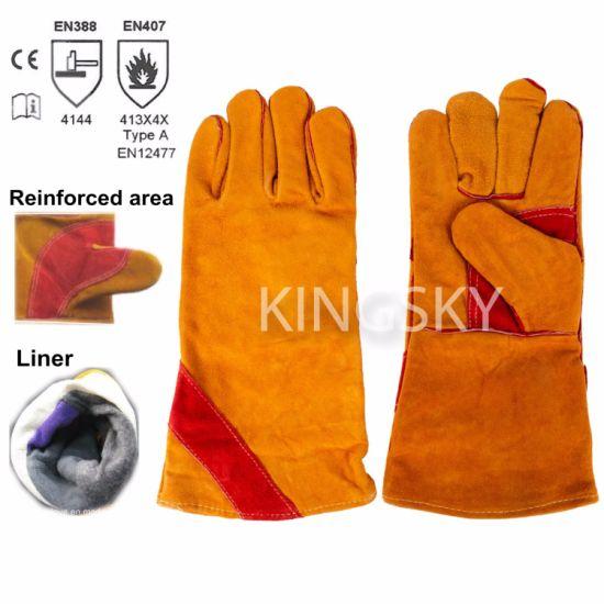 Golden Cow Split Leather Reinforced Palm Welder Welding Safety Work Glove