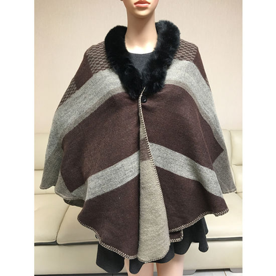 Check Thickened Fur Collar Cloak Shawl Manufacturer Direct Selling
