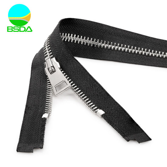 Wholesale Customize Metal Closed End Stainless Steel Fully Polished Metal Zipper