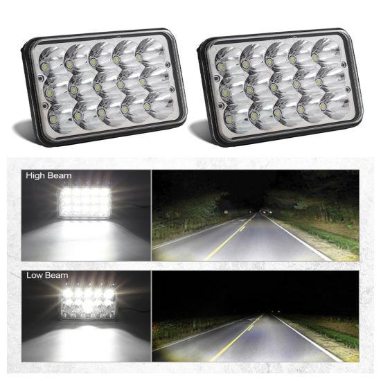 4X6 6X4 Inch LED Headlights Rectangular Sealed Beam Headlamp H4651 H4652 H4656 H4666 H6545 H4 Socket Hi/Lo Beam