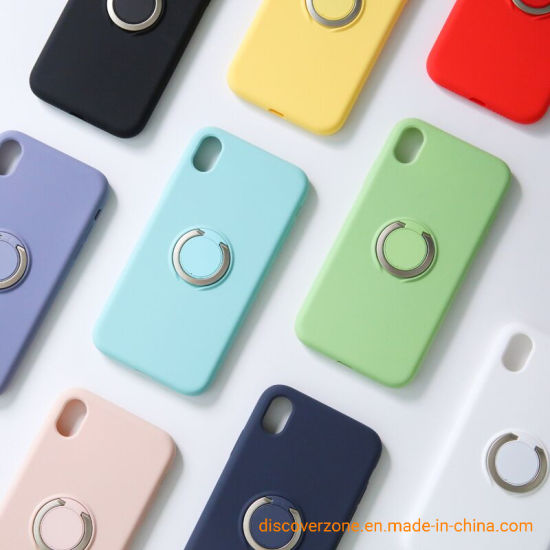 Liquid Silicone Phone Case with Car Holder Ring Waterproof Mobile Phone Case