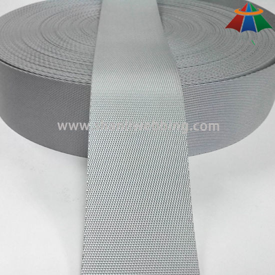 5cm Silver Grey Diagonal Weave Nylon Webbing for Backpack of High Quality