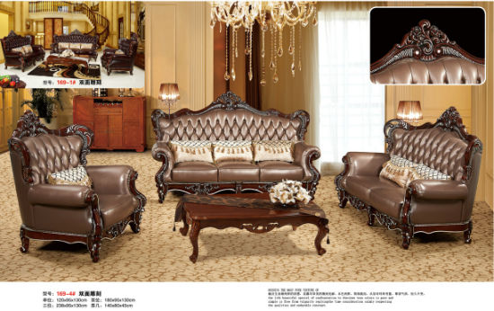 Europe Style Leather Sofa for Living Room Furniture (S001) pictures & photos