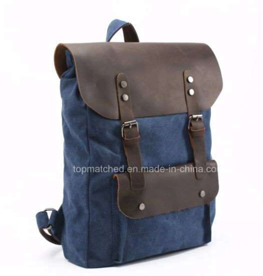 73e566dea907 Canvas Backpack Men and Women Backpack Outdoor Travel Backpack Crazy Horse Leather  Backpack