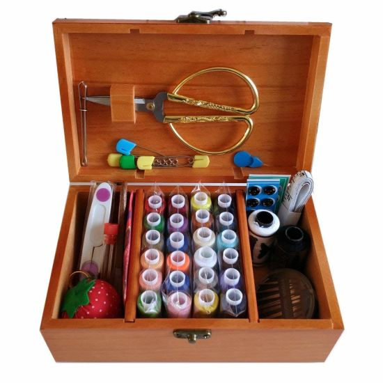 Multi-Purpose Solid Wood Sewing Box with Sewing Kit Accessories