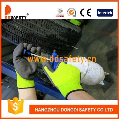 Green Labor Hand Protective Nitrile Dipped Sandy Finished Safety Gloves