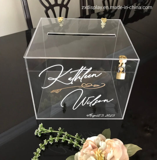 China Clear Acrylic Personalized Wedding Card Box With Slot And
