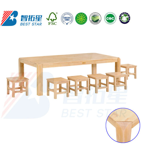 Best Star Children Rectangle Solid Wood Kids Table, , Children School Furniture, Preschool and Nursery Study Table, Kindergarten Classroom Student Table