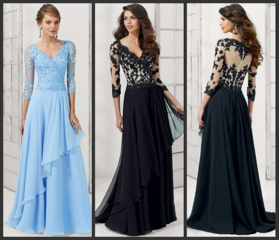 Black Lace Mother Evening Dresses Blue Formal Gowns Mt102 pictures & photos