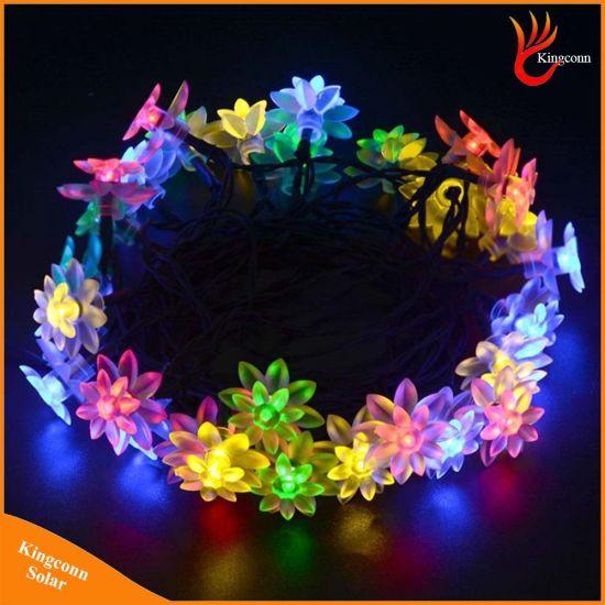 6m 30leds fairy lotus flower led solar christmas string lights