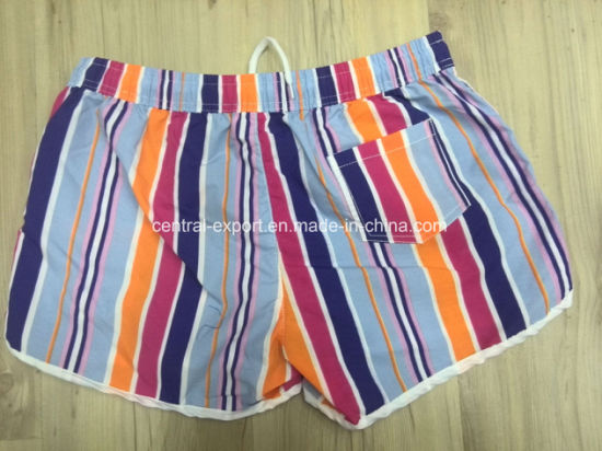 Oeko-Tex Flat Waist Polyester Striped Lady Board Short Swimwear pictures & photos