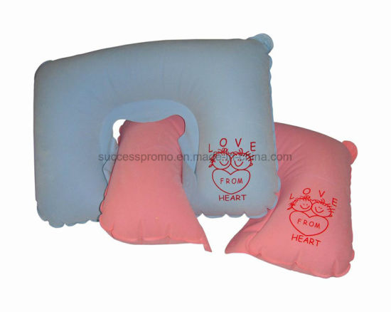 Promotional Flocked PVC Inflatable Neck Pillow with Customized Logo