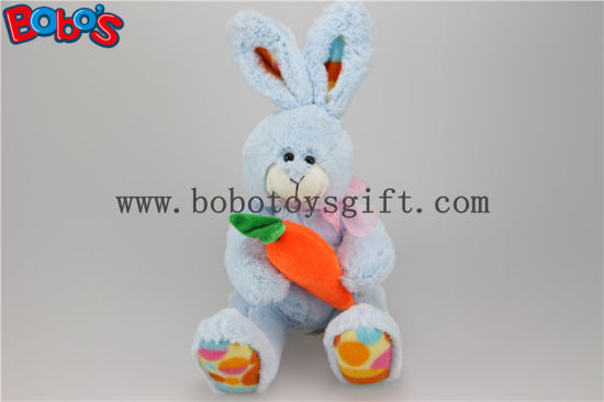 "7.9"" Blue Stuffed Bunny Rabbit Toy Hold Carrot as Kids Gift Is Good Easter Ideas Bos1159 pictures & photos"