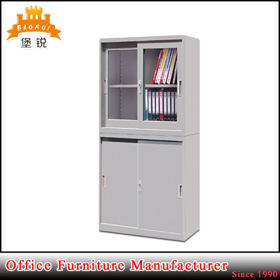 China Office Up Sliding Glass Door Steel Filing Cabinet For Storage