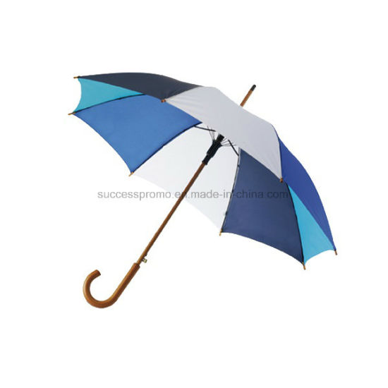 Classic 190t Polyester Fabric Umbrella with Wooden Shaft