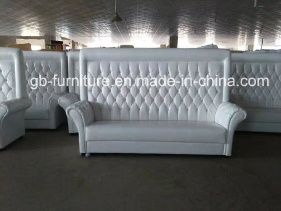 Beau Wedding Party Event High Back Sofa In White Vinyl Leather