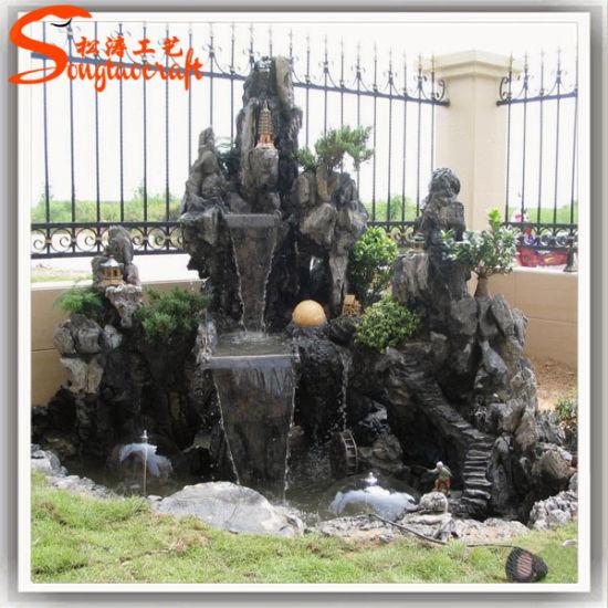 Factory Direct Decorative Modern Garden Stone Buddha Wall Fountain Rock