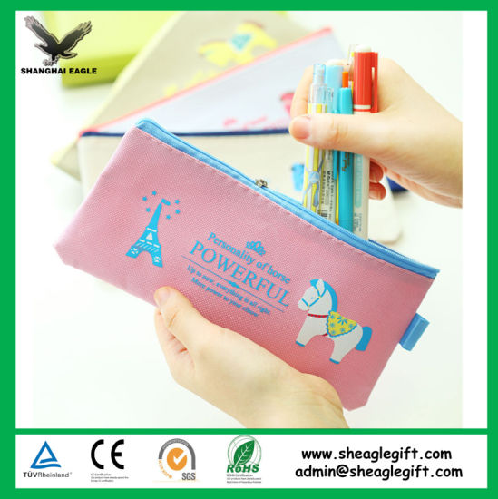 Promotional Custom Cotton Canvas Child Pencil Bag with Zip pictures & photos