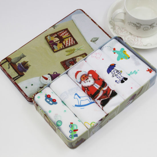 Christmas Gift Tin Box of Handkerchief and Scarf