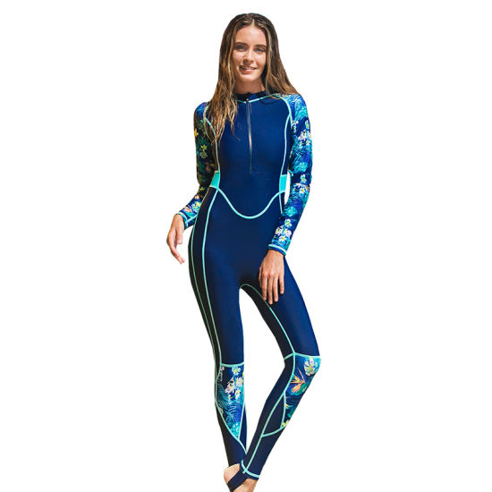 Navy UV50+ Breathable Sport Rash Guard Lycra Surfing Suit for Swimming for Women