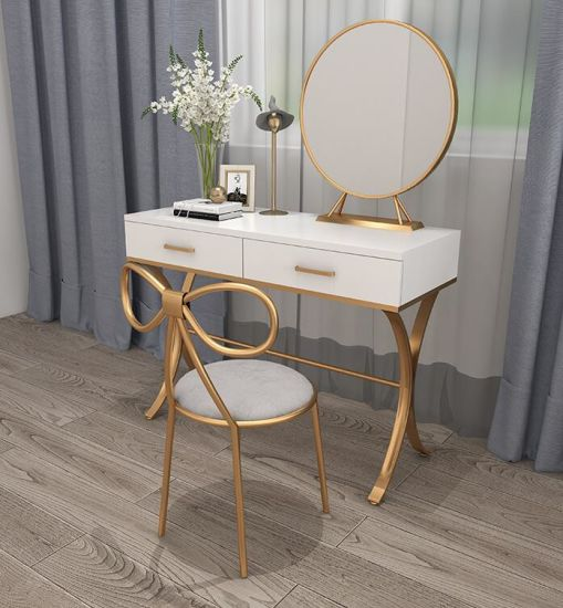 Nordic Simple Dressing Table With Mirror And Chair Set Furniture Bedroom Modern Economy Solid Wood Luxury Stylemakeup Vanity Table