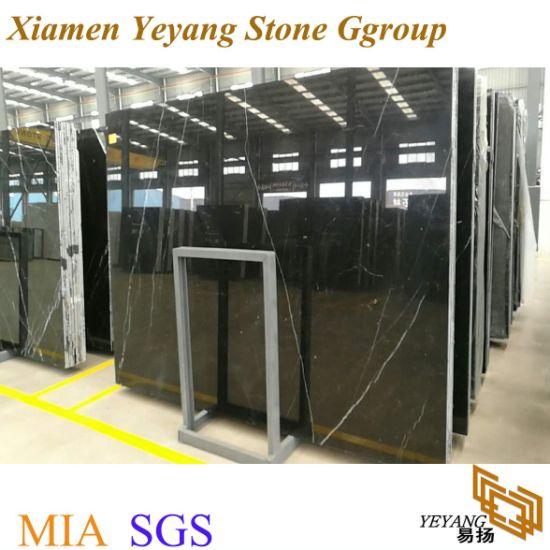 Polishing Natural Black Marble Slabs for Flooring/Tile/Stair/Countertops