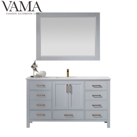 Vama 72 Inch Ready Made Double Sink Modern Bathroom Furniture with Quartz Table Top 785072