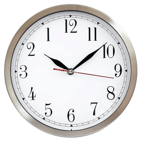 Custom 12inch 30cm Anticlockwise Stainless Steel Aluminum Metal Wall Clock pictures & photos