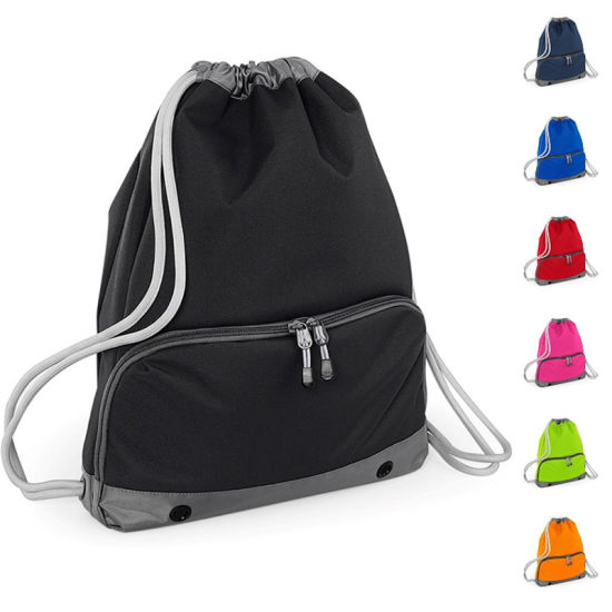 Customized Design Hot Sale Waterproof Nylon Drawstring Backpack with Zipper