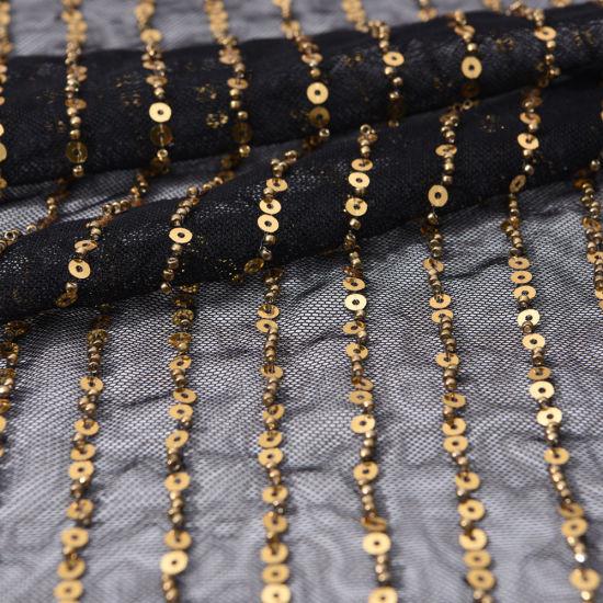 Black/Gold Stripe Sequins Beaded Mesh Fabric