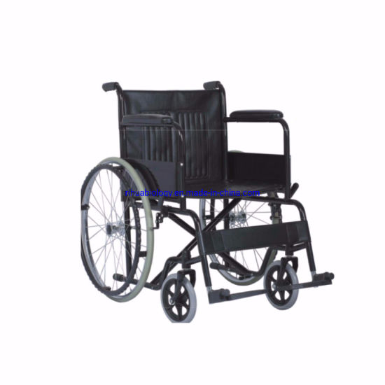 Cheap Manual Aluminum Footplate Stainless Steel Wheelchair for Hospital pictures & photos