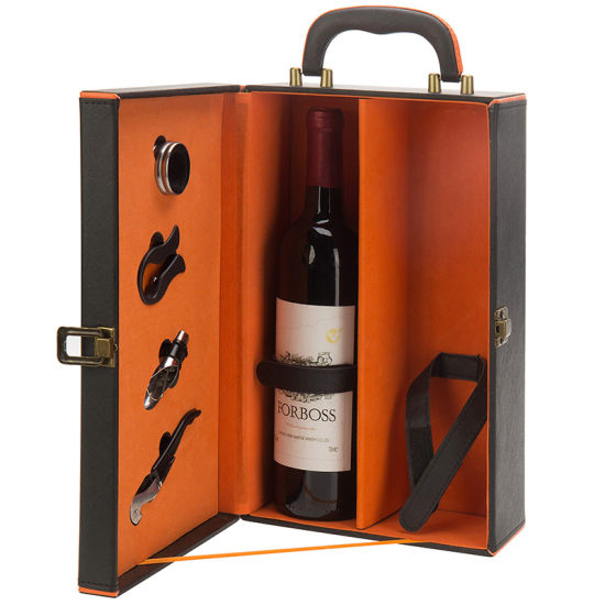 Wholesale 2 Bottles of Luxury Leather Wine Box with 4 Pieces of Accessories for Catering Gift Packaging