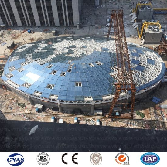 China Prefab Prefabricated Elliptical Round Shape Galvanized Grid Steel Structure Public Building Roof China Steel Structure Steel Structure Warehouse
