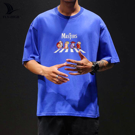 Men's New Fashion Cartoon Print Round Neck Short-Sleeved T-Shirt, Custom Large Size Loose Casual Solid Color T-Shirt