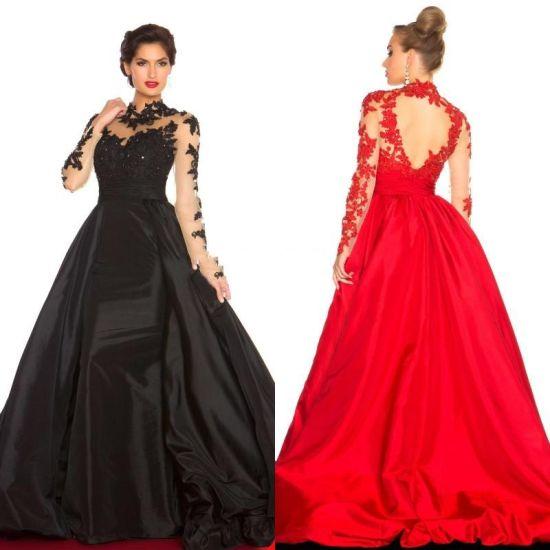 d1bdd1e8febe A-Line Long Sleeve Evening Dress High Collar Court Taffeta Prom Dress  W147199 pictures &