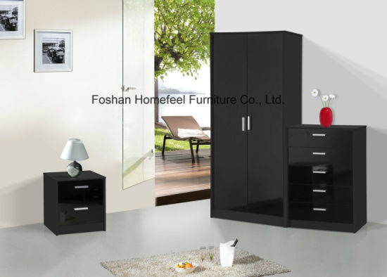 3 Piece High Gloss Bedroom Wardrobe Closet Set pictures & photos