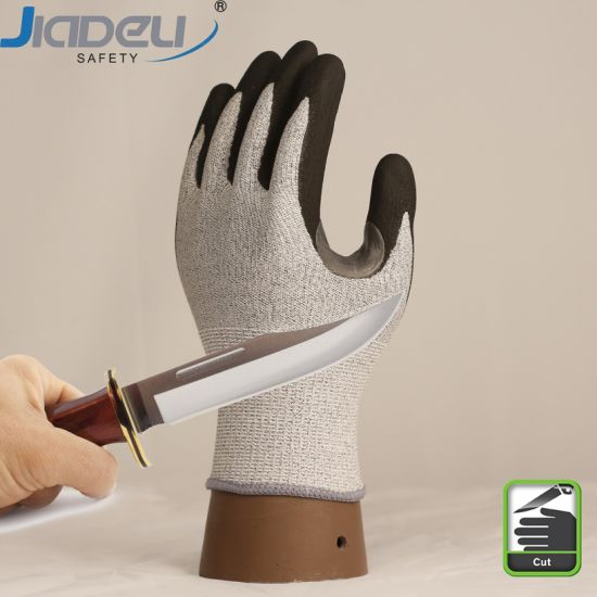 13gg Comfortable Dipped Foam Nitrile Coated Palm Anti Cut Level C Abrasion Proof Personal Safety Working Grip Gloves