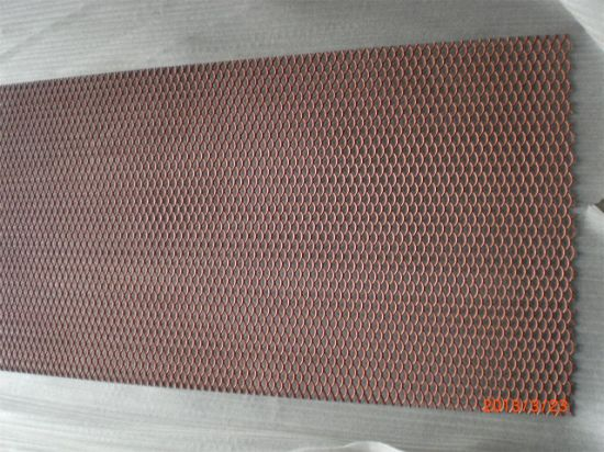 Tec-Sieve Standard Raised Anodized Expanded Aluminium Mesh in Red and Orange