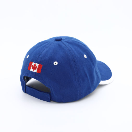 Wholesale Canada Blue Brushed Cotton 6 Panel Baseball Cap pictures & photos